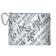 Abstract Minimalistic Text Typography Grayscale Focused Into Newspaper Canvas Cosmetic Bag (XL)