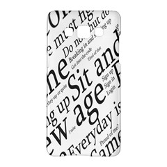 Abstract Minimalistic Text Typography Grayscale Focused Into Newspaper Samsung Galaxy A5 Hardshell Case