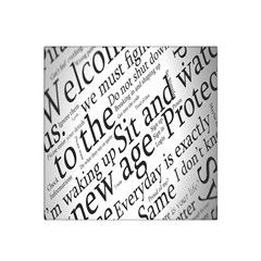 Abstract Minimalistic Text Typography Grayscale Focused Into Newspaper Satin Bandana Scarf