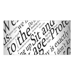 Abstract Minimalistic Text Typography Grayscale Focused Into Newspaper Satin Shawl