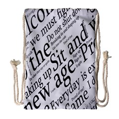 Abstract Minimalistic Text Typography Grayscale Focused Into Newspaper Drawstring Bag (Large)