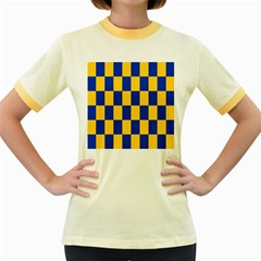 Flag Plaid Blue Yellow Women s Fitted Ringer T Shirts
