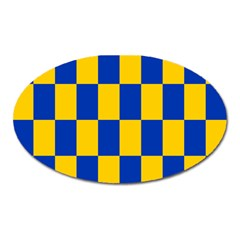 Flag Plaid Blue Yellow Oval Magnet