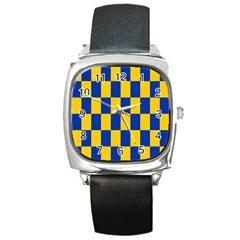 Flag Plaid Blue Yellow Square Metal Watch