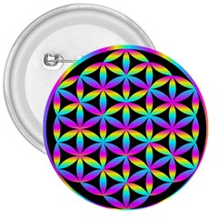 Flower Of Life Gradient Fill Black Circle Plain 3  Buttons