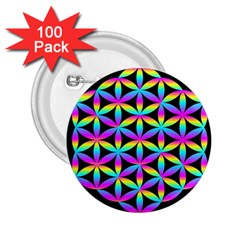 Flower Of Life Gradient Fill Black Circle Plain 2 25  Buttons (100 Pack)