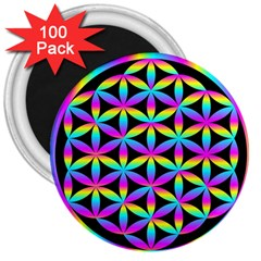 Flower Of Life Gradient Fill Black Circle Plain 3  Magnets (100 pack)