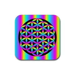 Flower Of Life Gradient Fill Black Circle Plain Rubber Square Coaster (4 Pack)