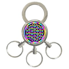 Flower Of Life Gradient Fill Black Circle Plain 3-Ring Key Chains