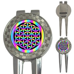 Flower Of Life Gradient Fill Black Circle Plain 3 In 1 Golf Divots