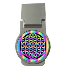 Flower Of Life Gradient Fill Black Circle Plain Money Clips (round)