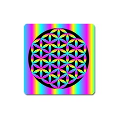Flower Of Life Gradient Fill Black Circle Plain Square Magnet