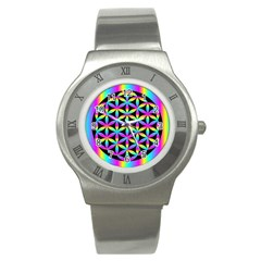 Flower Of Life Gradient Fill Black Circle Plain Stainless Steel Watch