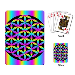 Flower Of Life Gradient Fill Black Circle Plain Playing Card