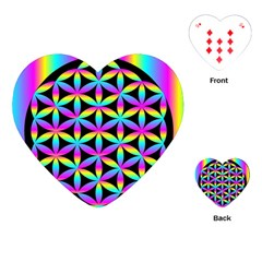 Flower Of Life Gradient Fill Black Circle Plain Playing Cards (Heart)