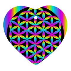 Flower Of Life Gradient Fill Black Circle Plain Heart Ornament (two Sides)