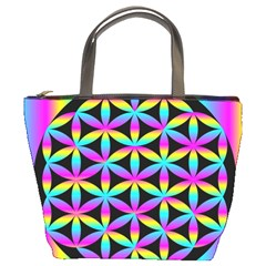 Flower Of Life Gradient Fill Black Circle Plain Bucket Bags