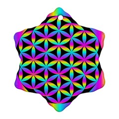 Flower Of Life Gradient Fill Black Circle Plain Snowflake Ornament (two Sides)
