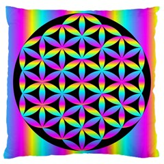Flower Of Life Gradient Fill Black Circle Plain Large Cushion Case (Two Sides)