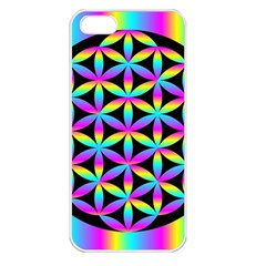 Flower Of Life Gradient Fill Black Circle Plain Apple iPhone 5 Seamless Case (White)
