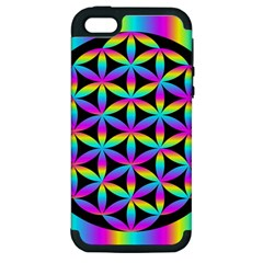 Flower Of Life Gradient Fill Black Circle Plain Apple iPhone 5 Hardshell Case (PC+Silicone)