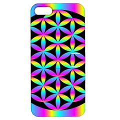 Flower Of Life Gradient Fill Black Circle Plain Apple iPhone 5 Hardshell Case with Stand
