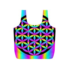 Flower Of Life Gradient Fill Black Circle Plain Full Print Recycle Bags (S)