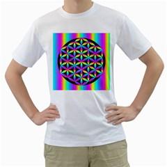 Flower Of Life Gradient Fill Black Circle Plain Men s T-Shirt (White)