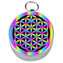 Flower Of Life Gradient Fill Black Circle Plain Silver Compasses