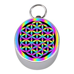 Flower Of Life Gradient Fill Black Circle Plain Mini Silver Compasses