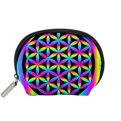 Flower Of Life Gradient Fill Black Circle Plain Accessory Pouches (Small)