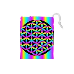 Flower Of Life Gradient Fill Black Circle Plain Drawstring Pouches (Small)