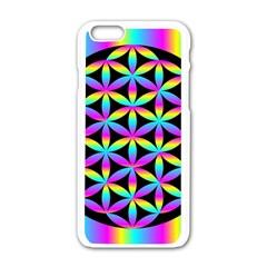 Flower Of Life Gradient Fill Black Circle Plain Apple iPhone 6/6S White Enamel Case