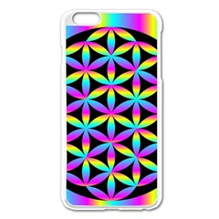Flower Of Life Gradient Fill Black Circle Plain Apple iPhone 6 Plus/6S Plus Enamel White Case
