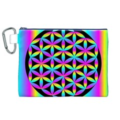 Flower Of Life Gradient Fill Black Circle Plain Canvas Cosmetic Bag (XL)