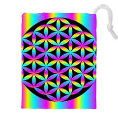 Flower Of Life Gradient Fill Black Circle Plain Drawstring Pouches (xxl)