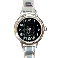 Optical Illusion Square Abstract Geometry Round Italian Charm Watch