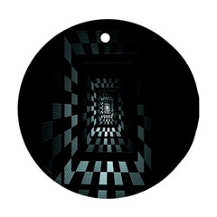 Optical Illusion Square Abstract Geometry Ornament (round)
