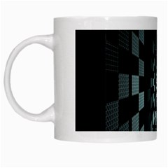 Optical Illusion Square Abstract Geometry White Mugs