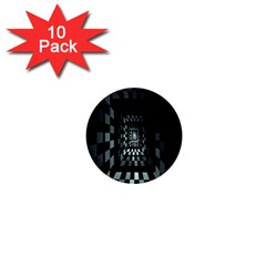 Optical Illusion Square Abstract Geometry 1  Mini Buttons (10 Pack)