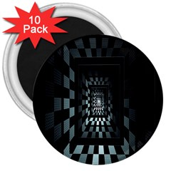Optical Illusion Square Abstract Geometry 3  Magnets (10 pack)