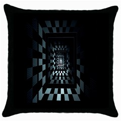 Optical Illusion Square Abstract Geometry Throw Pillow Case (black)