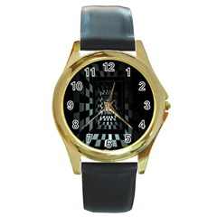 Optical Illusion Square Abstract Geometry Round Gold Metal Watch