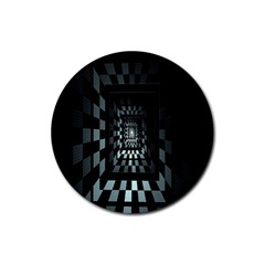 Optical Illusion Square Abstract Geometry Rubber Coaster (round)
