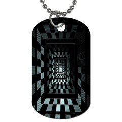 Optical Illusion Square Abstract Geometry Dog Tag (One Side)