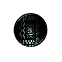 Optical Illusion Square Abstract Geometry Hat Clip Ball Marker (4 Pack)
