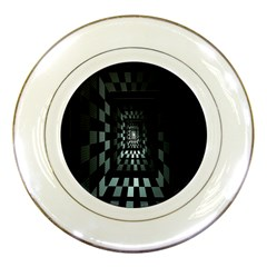 Optical Illusion Square Abstract Geometry Porcelain Plates