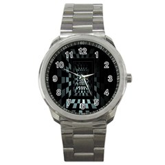 Optical Illusion Square Abstract Geometry Sport Metal Watch