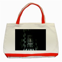 Optical Illusion Square Abstract Geometry Classic Tote Bag (red)