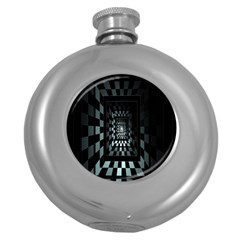 Optical Illusion Square Abstract Geometry Round Hip Flask (5 oz)